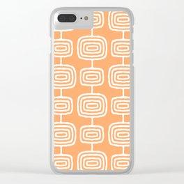 Mid Century Modern Atomic Rings Pattern 731 Orange Clear iPhone Case