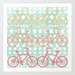 Oui Oui Mon Cheri Throw Pillow with Bicycles and Stars Art Print