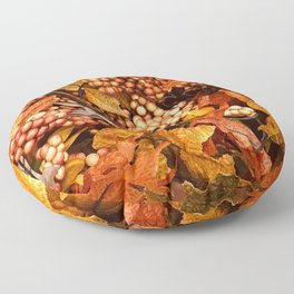 Autumn Leaves and Fall Berries Floor Pillow