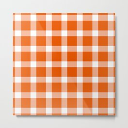 Plaid Persimmon Orange Metal Print