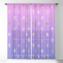 Pink Purple Blue Gradient With Rose Gold Unicorn Pattern Sheer Curtain
