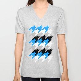 Neon Goth Houndstooth Pattern (Blue) Unisex V-Neck