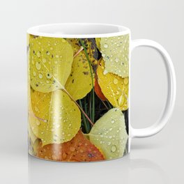 Water droplets on autumn aspen leaves Coffee Mug