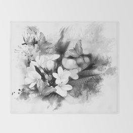 Butterflies and Frangipani in black and white Throw Blanket