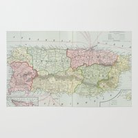 puerto rico Area & Throw Rugs featuring Vintage Map of Puerto Rico (1901) by BravuraMedia