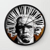 beethoven Wall Clocks featuring Beethoven by Ed Pires