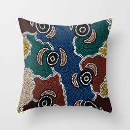 Authentic Aboriginal Art - Riverside Dreaming Throw Pillow