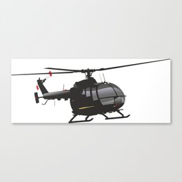 Black German Helicopter Bo.105 Canvas Print