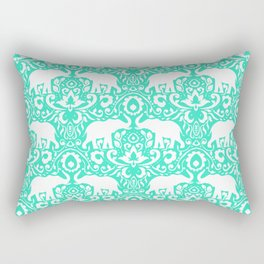 Elephant Damask Mint Rectangular Pillow