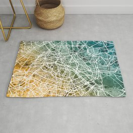 Paris France City Street Map Rug