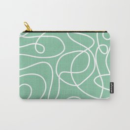 Doodle Line Art | White Lines on Bright Green Carry-All Pouch