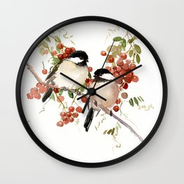 Chickadee Bird Vintage Bird Artwork Wall Clock