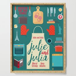 Julie and Julia, minimal movie poster, Meryl Streep, Amy Adams, Nora Ephron film, Julia Child, cook Serving Tray