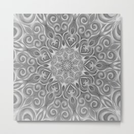 Gray Center Swirl Mandala Metal Print