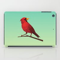 low poly iPad Cases featuring Low-poly Red Bird by fortyfive
