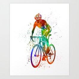 Woman triathlon cycling 05 Art Print