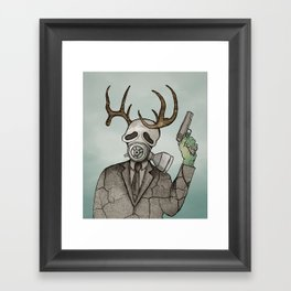 Collage Love: Apocalyptic Deer Man Framed Art Print