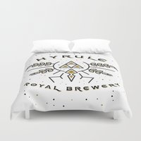 hyrule Duvet Covers featuring Hyrule Royal Brewery by Tugrul Peker