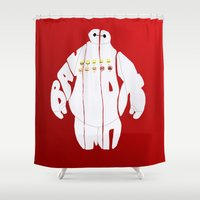 baymax Shower Curtains featuring baymax by pokegirl93