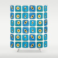 evil eye Shower Curtains featuring Evil Eye Squares by Katayoon Photography & Design