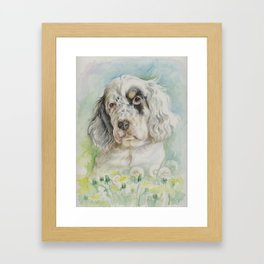 English Setter puppy watercolor painting Cute dog portrait Decor for pet lover Framed Art Print