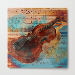 Violin Art Collage - mixed media Metal Print