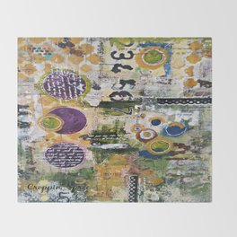 Mixed Media Art. Numbers, Circles & Words. Purpose Art. Deep Plum, Yellow, Greens and Blues Throw Blanket