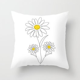 Pretty Little Daisies - Line Art Drawing - Spring Summer Collection Throw Pillow