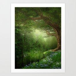 Summer Forest River Art Print