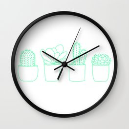 Succulents (Minty Palette) Wall Clock