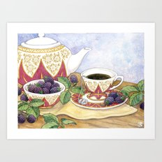 Blackberry Tea Art Print