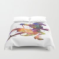 captain hook Duvet Covers featuring Captain Hook in watercolor by Paulrommer