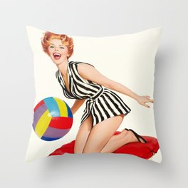 Pin Up Girl and Beach Ball Vintage Art Throw Pillow