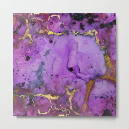 Purple Ink Gold Glitter Marble Metal Print
