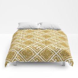 Gold Glitter Greek Pattern Comforters