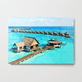 Maldives Digital Watercolor Art Metal Print