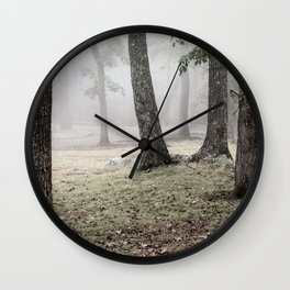 Mysterious Ancient Trees in a Misty Ghostly Forest. Wall Clock