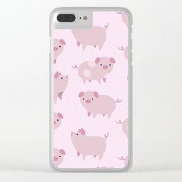 Cute Pink Piglets Pattern Clear iPhone Case