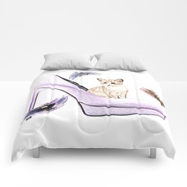 HIGH HEELS AND CAT Comforters