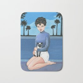 Hollywood actress with her beloved siamese cat. Bath Mat