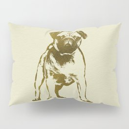 Pug Puppy sketch on canvas with gold accents Pillow Sham
