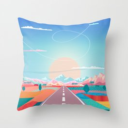 Summer Road trip to Rocky Mountains Adventures in Nature, car blue sky land airplane rural landscape Throw Pillow