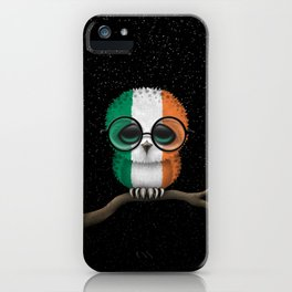 Baby Owl with Glasses and Irish Flag iPhone Case