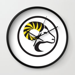 Dall Sheep Ram Full Curl Horn Circle Retro Wall Clock