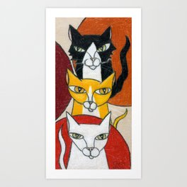 Three Cats Art Print