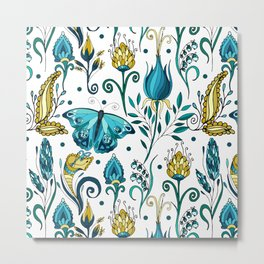 Floral pattern with butterfly Metal Print