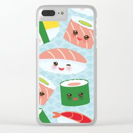 pattern Kawaii funny sushi rolls set with pink cheeks and big eyes, emoji Clear iPhone Case