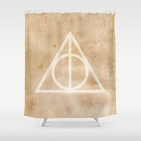 deathly hallows Shower Curtains featuring Deathly Hallows on Parchment by Hannah Ison