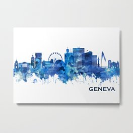 Geneva Switzerland Skyline Blue Metal Print