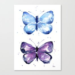 Butterflies Watercolor Blue and Purple Butterfly Canvas Print